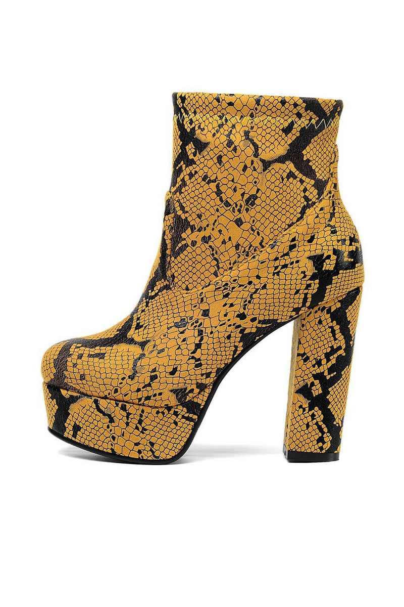 Yellow Snakeskin Paltform Heeled Ankle Boots
