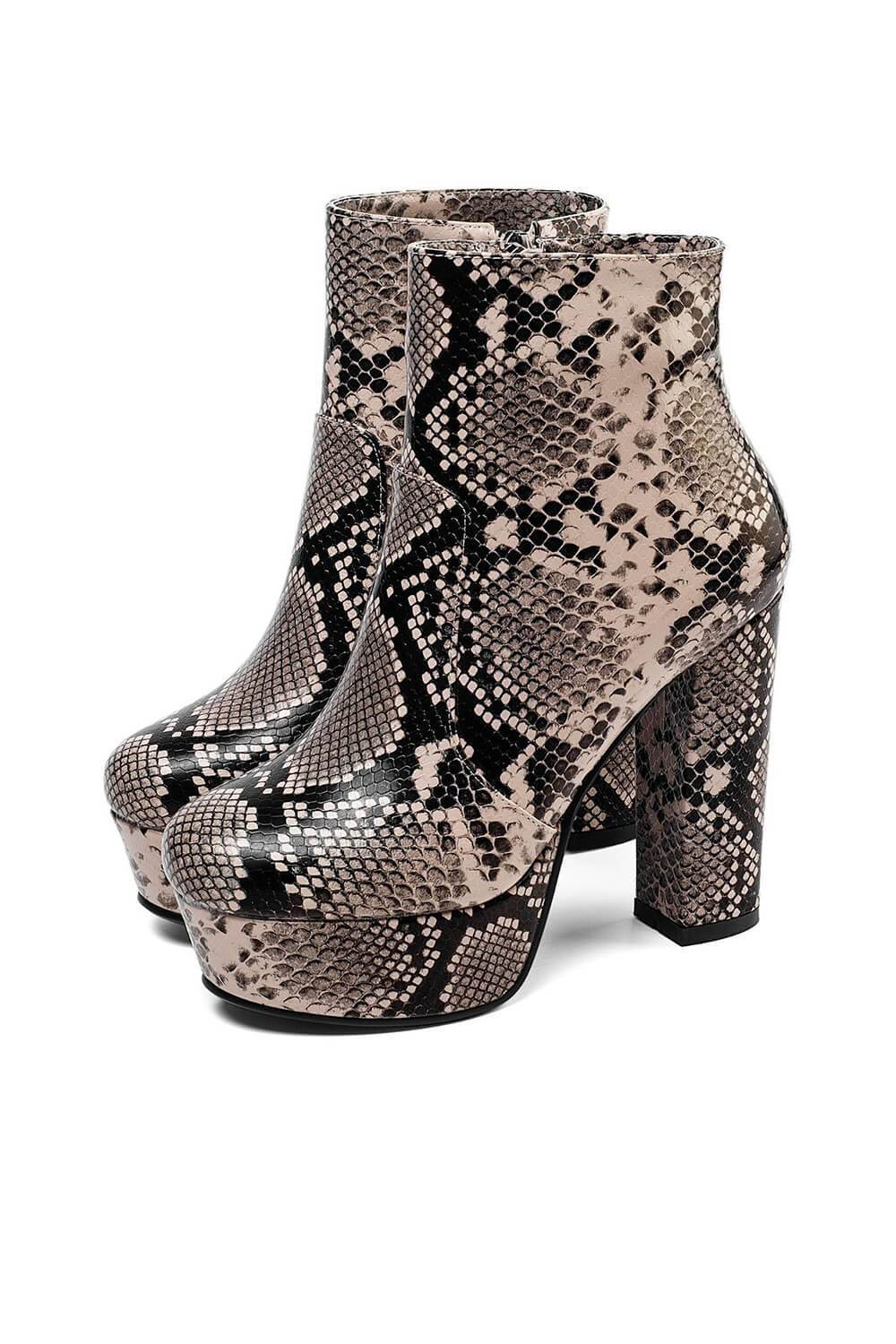 Black Gray Snakeskin Paltform Heeled Ankle Boots