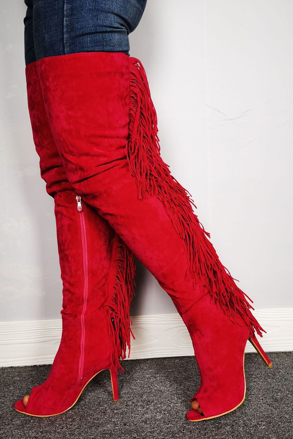 Ruby Suede Fringe Thigh High Peep Toe Heeled Boots