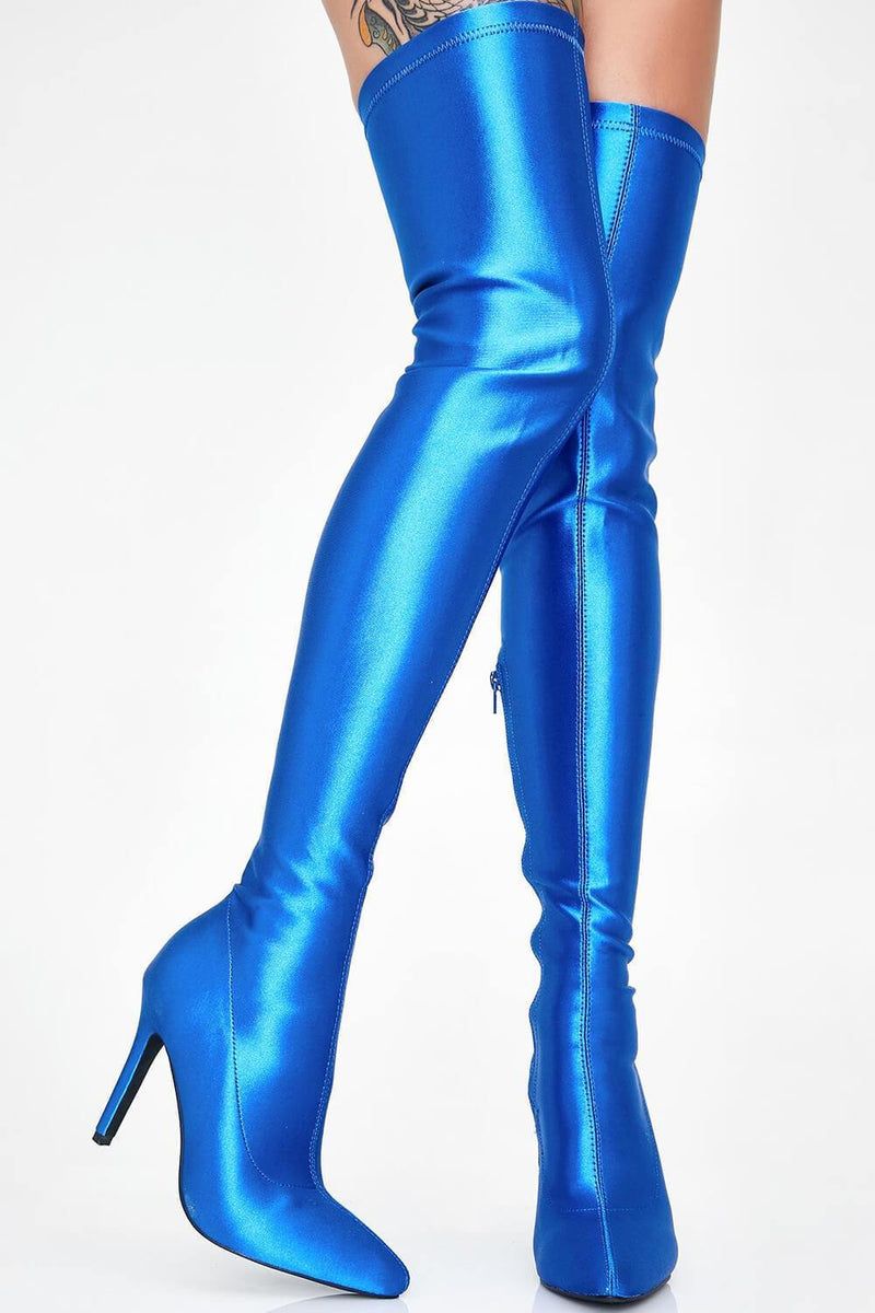 Blue Satin Pointed Toe Thigh High Boots