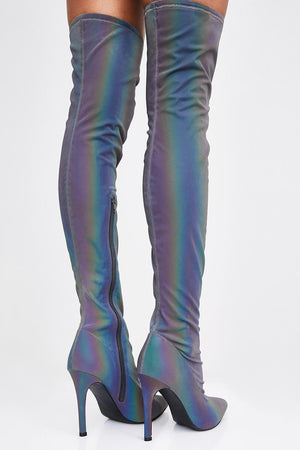 Rainbow Reflective Satin Pointed Toe Thigh High Boots