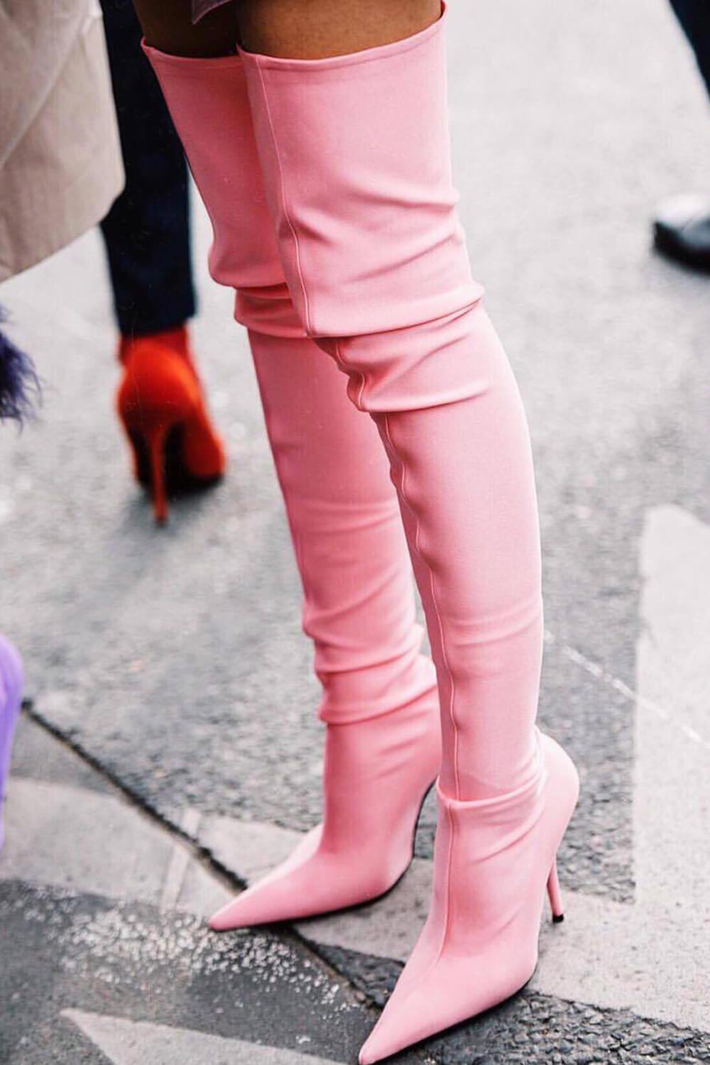 Pink Satin Pointed Toe Thigh High Boots
