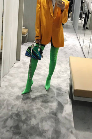 Green Satin Pointed Toe Thigh High Boots