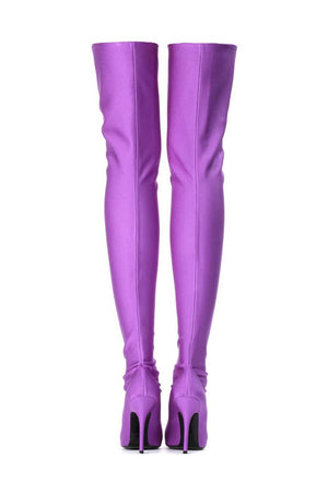 Purple Satin Pointed Toe Thigh High Boots
