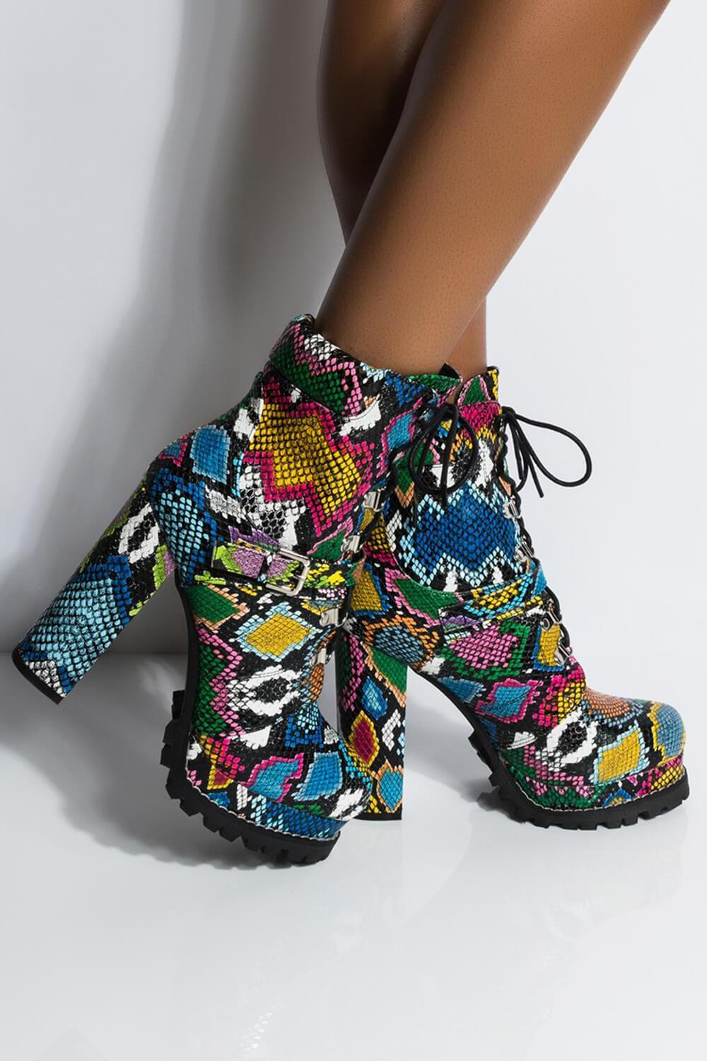 Multi-Colored Python Lace-Up Platform Chunky Heeled Boots With Buckle Detail