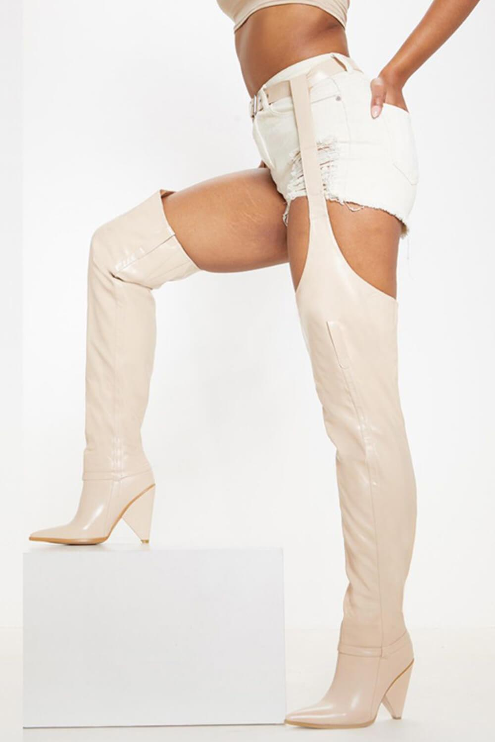 Nude Belted Thigh High Western Boots