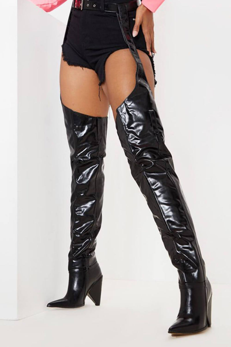 Black Belted Thigh High Western Boots