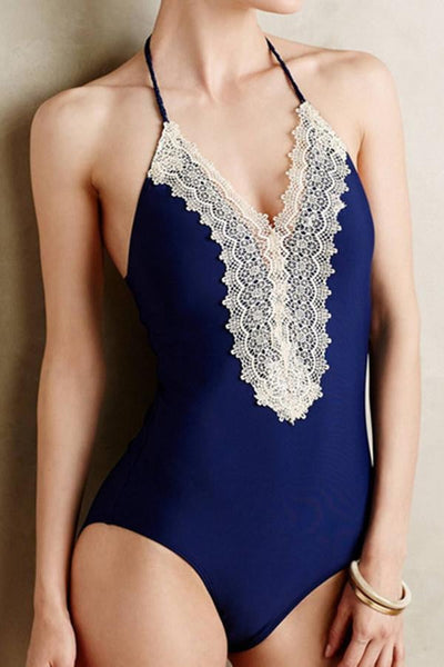 Floralkini Crochet Trim Halter One Piece Swimwear