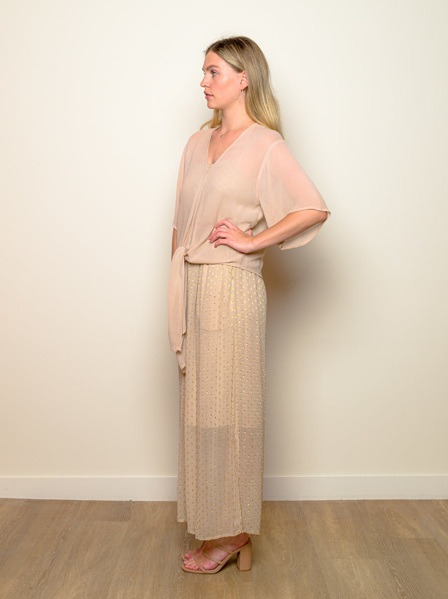"V-Neck ""Nude Serenity"" Top with Sleeves"