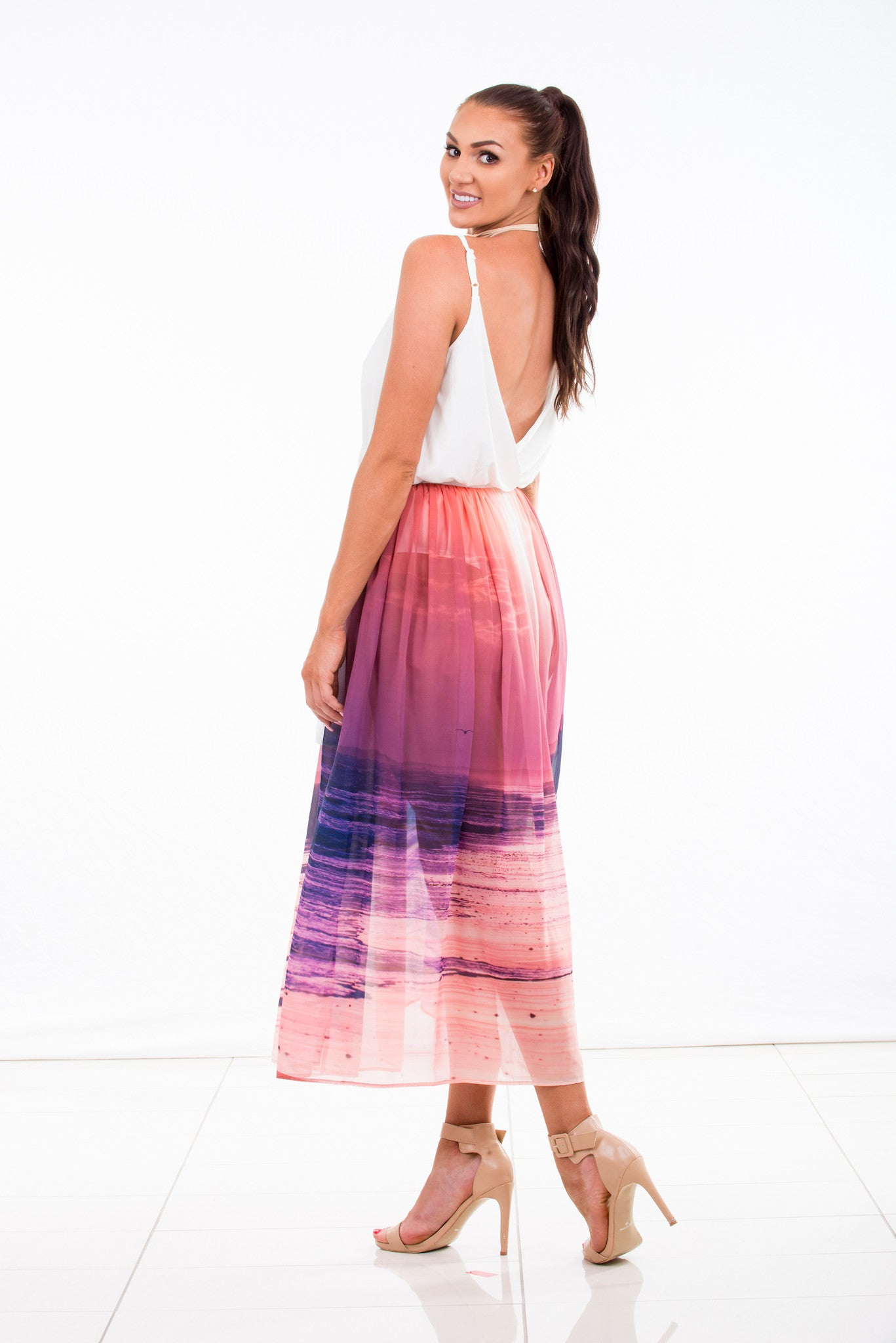 womens skirt chiffon wrap sunset print purple pink