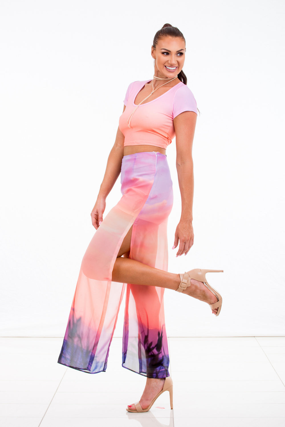 Women's Maxi Skirt Chiffon with sunrise digital print