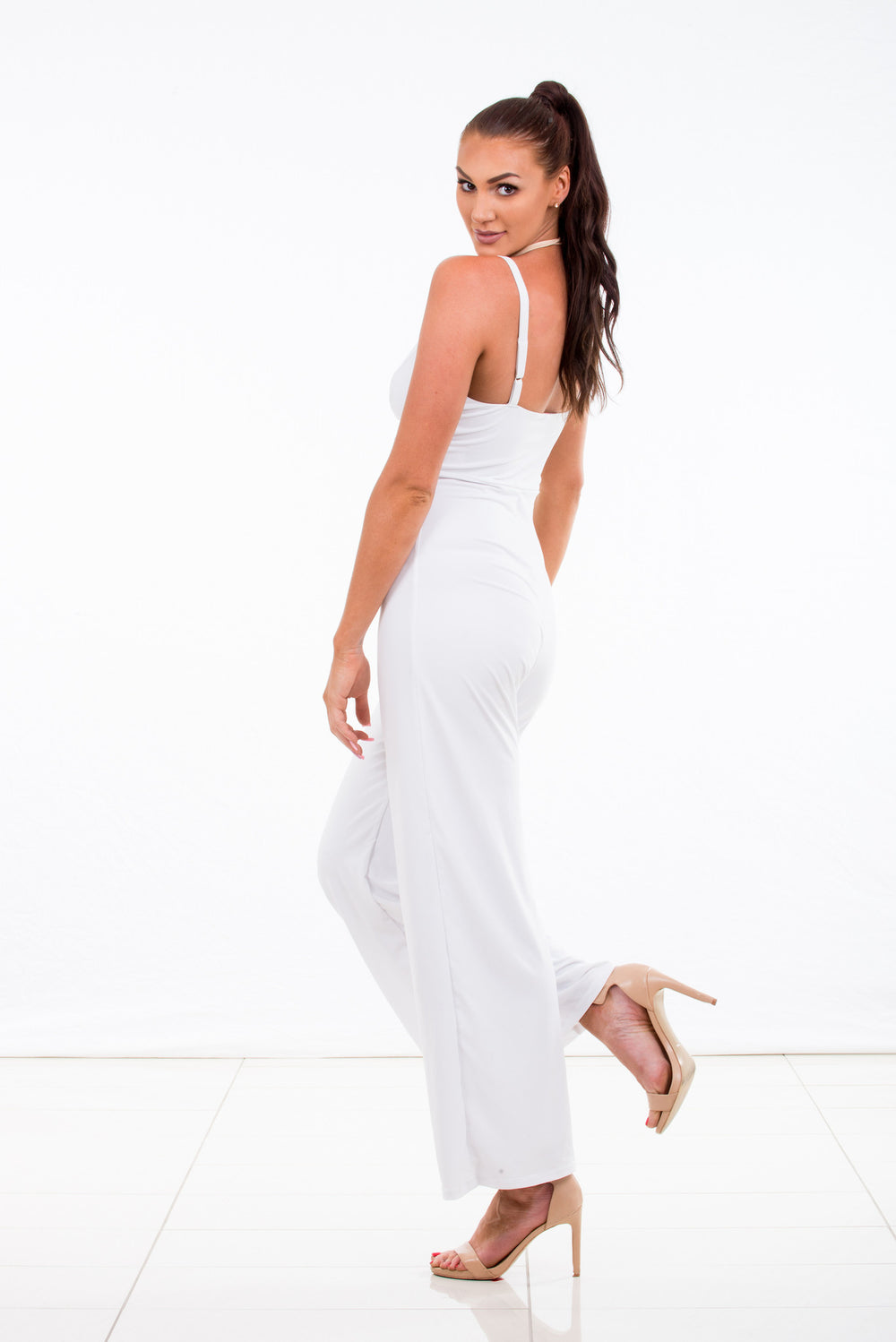 "Jumpsuit ""Whisper"" White Bra Top with Culotte Pants"