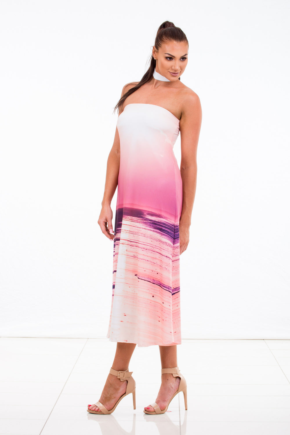 Choker dress womens pink purple print