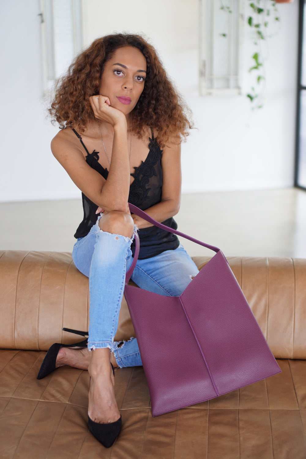 Kesa + Konc Vegan Leather Plum Talin Tote Bag