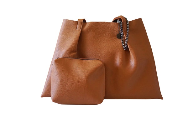 Kesa + Konc Vegan Leather Shoulder Bag / Miha / Tan