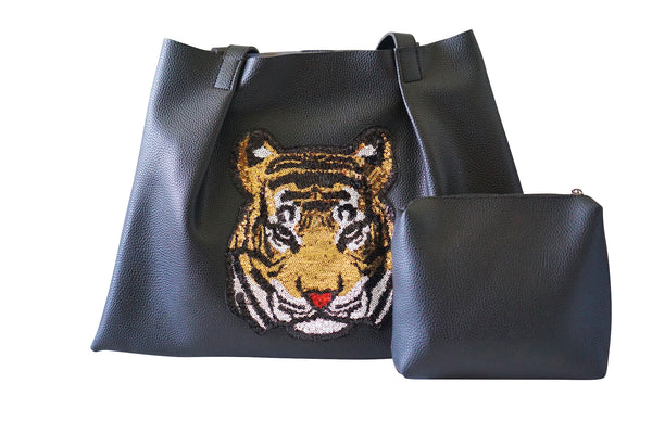 Kesa + Konc Vegan Leather Shoulder Bag / Miha Tiger / Black