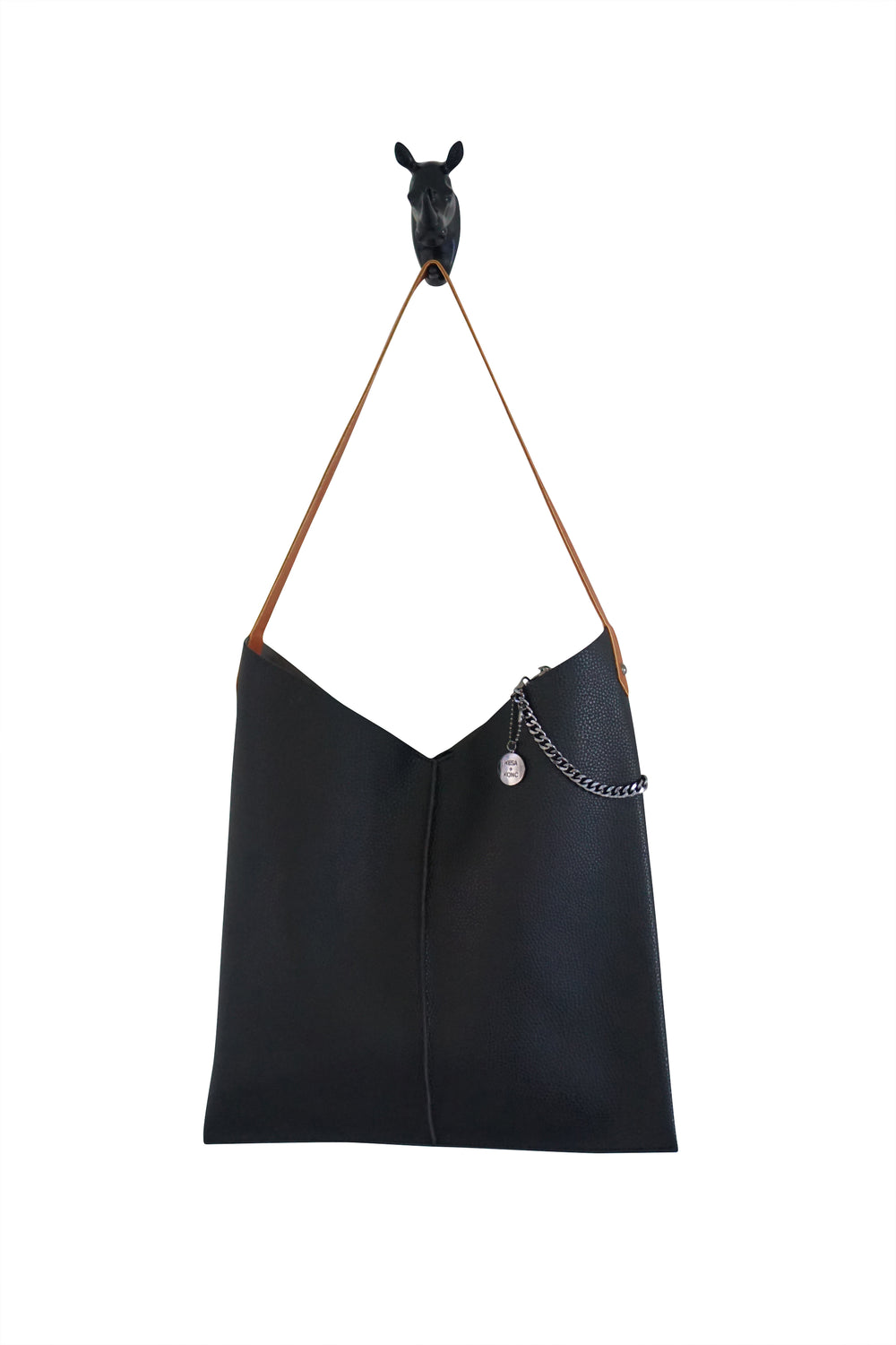 Kesa + Konc Vegan Leather Black Talin Tote Bag
