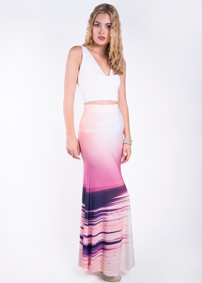 "Women's elegant Maxi Skirt with ""Angel"" sunset print"