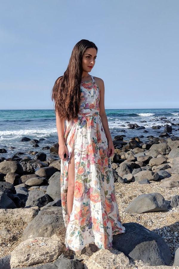 House of Camie - Yeah Wow Maxi Dress / Floral Linen