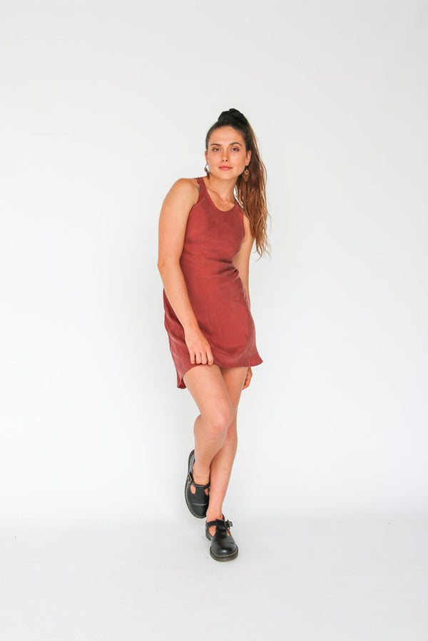 House of Camie - Fair Call Short Bias Dress / Rust