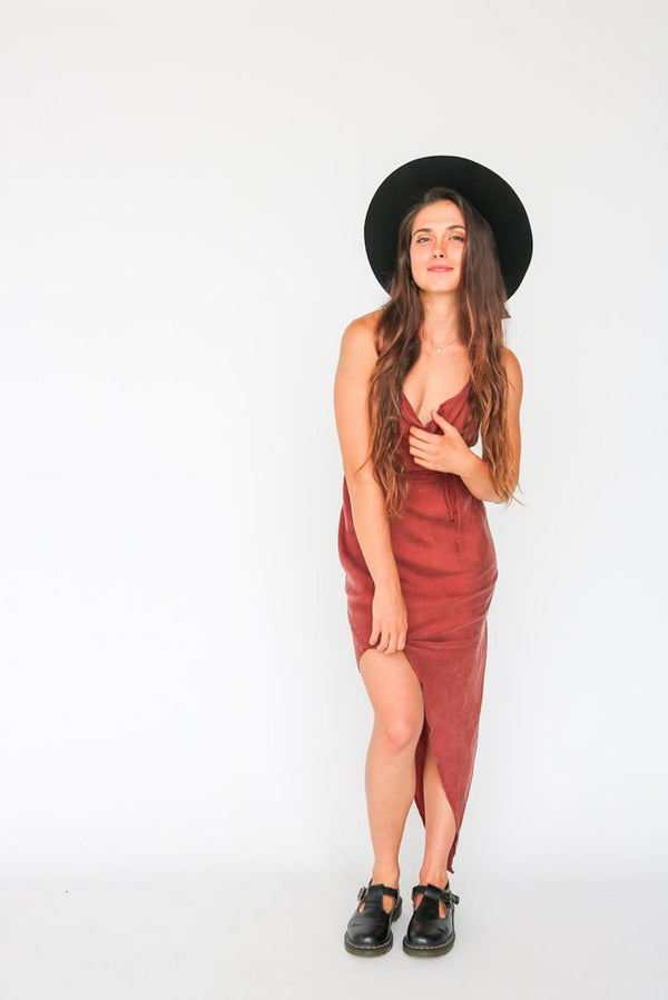 House of Cami - BTW Cowl Neck Bias Dress / Rust