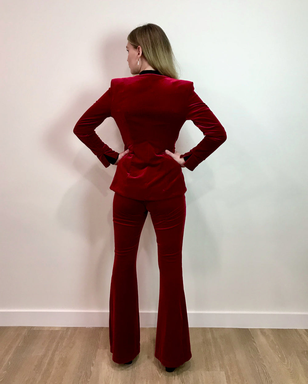 "Why Mary ""Layla"" Red Velvet Pants Suit"