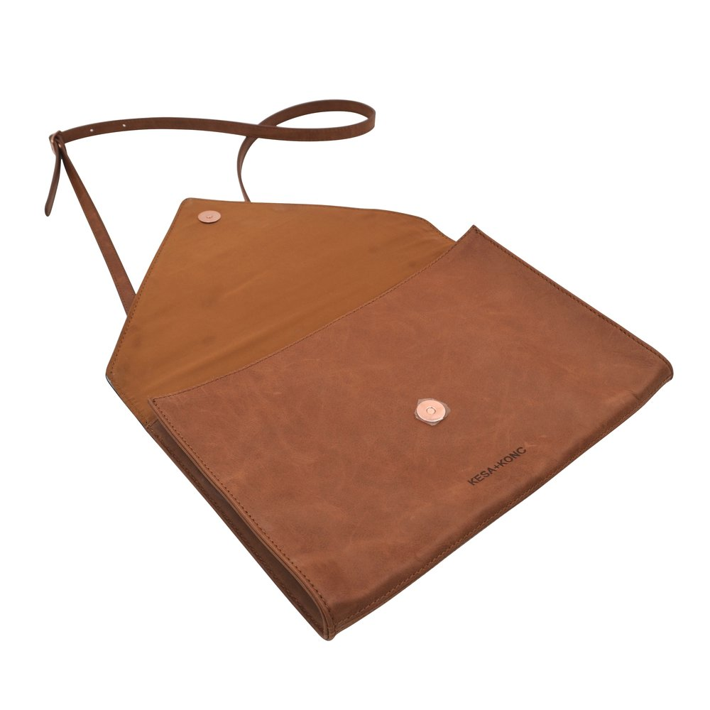 Kesa + Konc Wild Rose Leather Clutch Tan