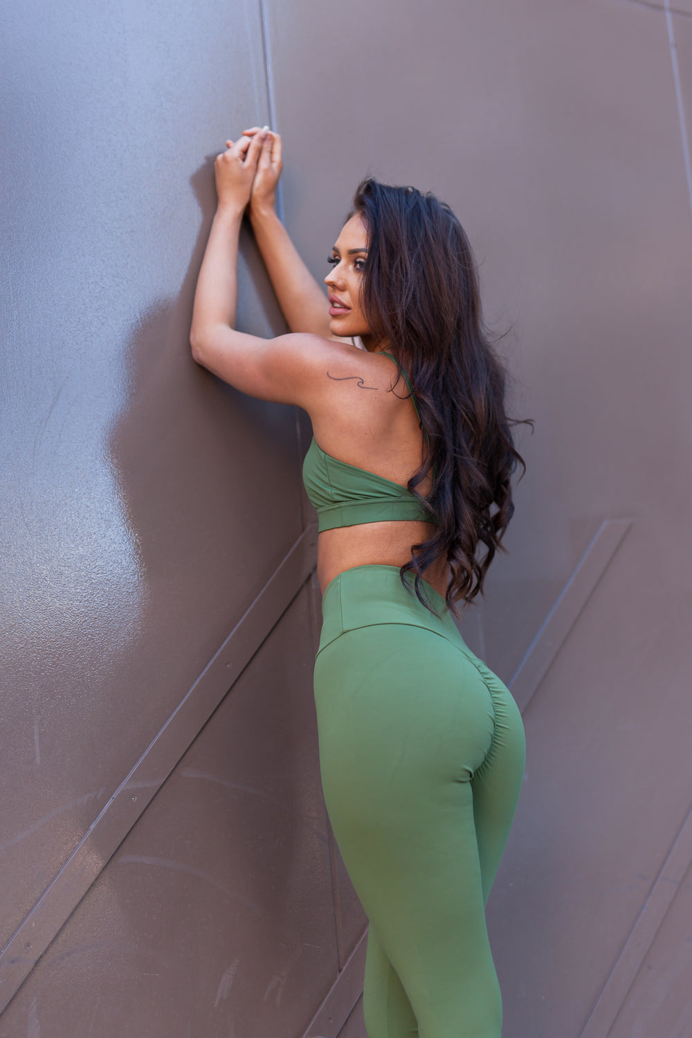 Physio.Fit.Co Khaki Extra Scrunch Bum Leggings & Luxe Crop Set