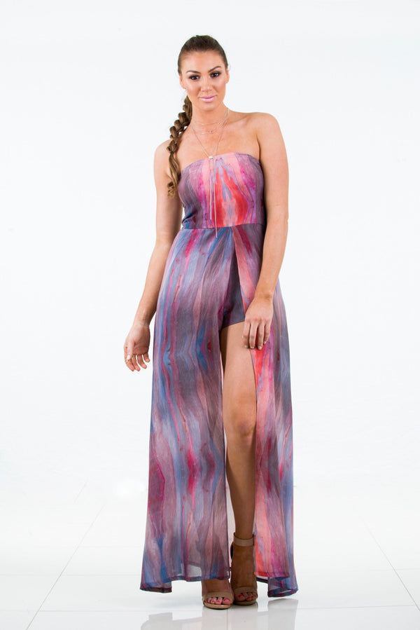 Chiffon Playsuit with maxi overlay