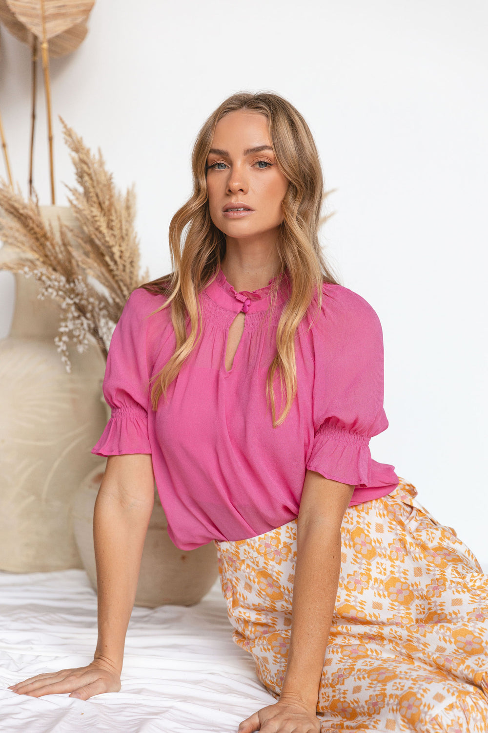"Hot Pink ""Devotion"" Georgette Top with Puffed Sleeves"