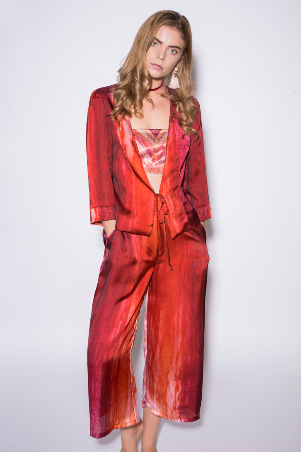Satin Deluxe Palazzo Pants and Tie Jacket Set
