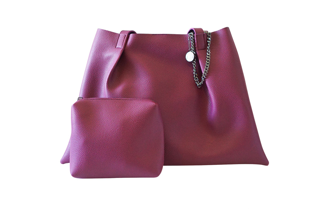Kesa + Konc Vegan Leather Shoulder Bag / Miha / Plum