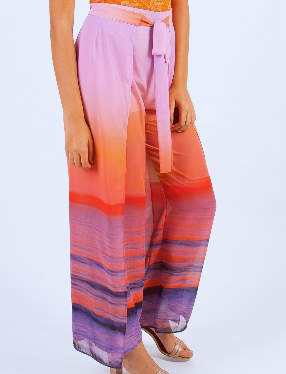 Women's Wrap Pants Chiffon Sunrise Print