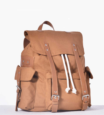 Striped Tan Messenger Bag