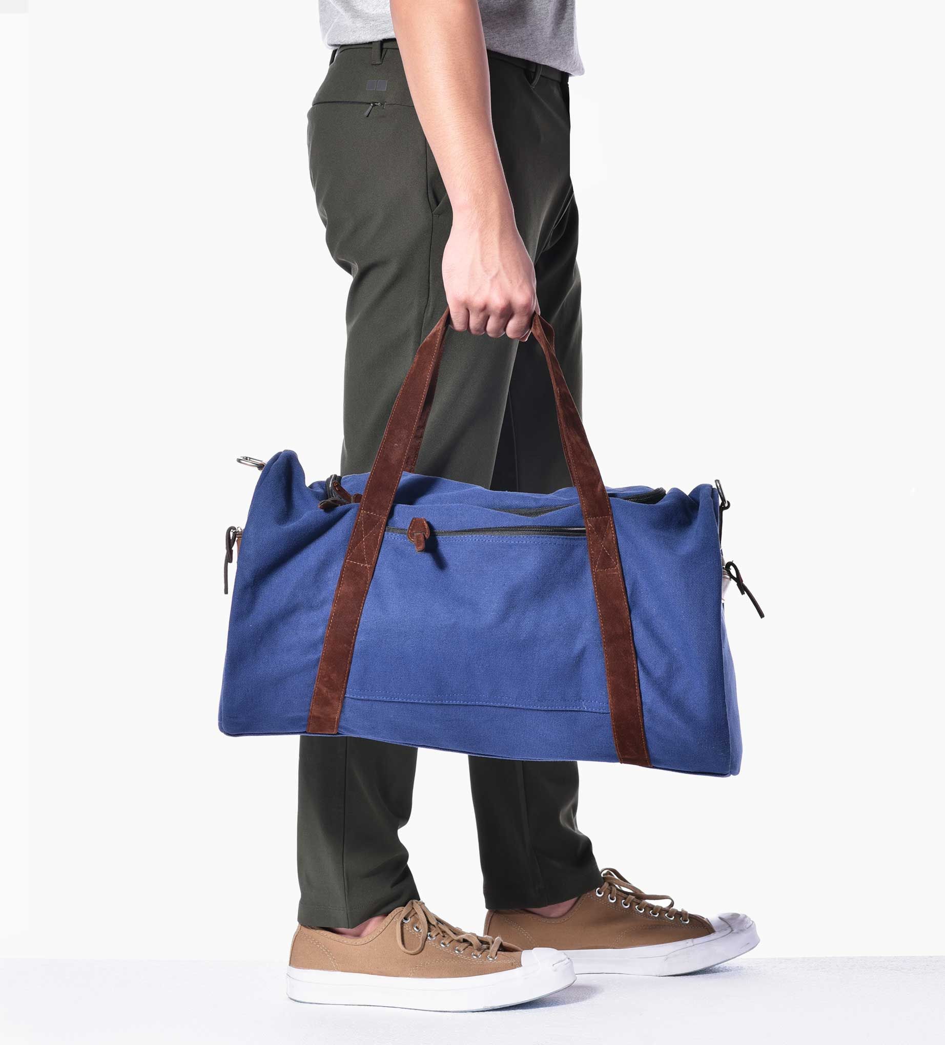 Navy and Suede Duffle Bag