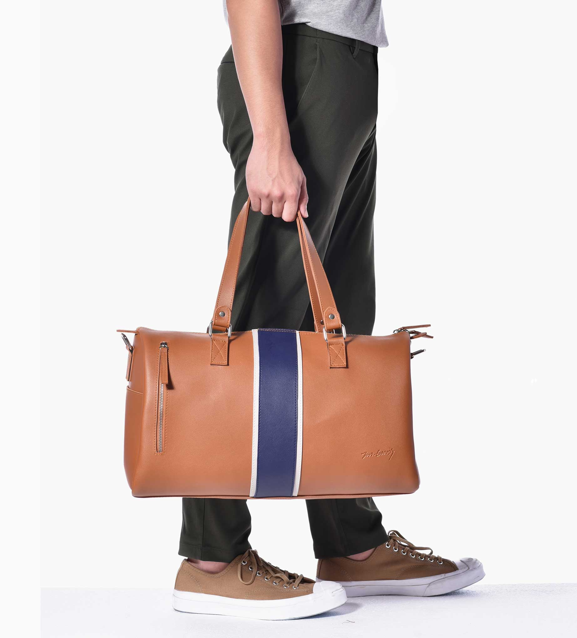 Striped Tan Weekender Bag