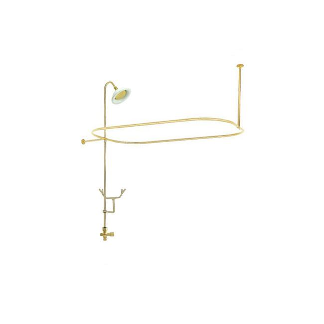 Polished Brass Clawfoot Tub Shower Conversion Kit with Enclosure Curtain Rod 10060PB