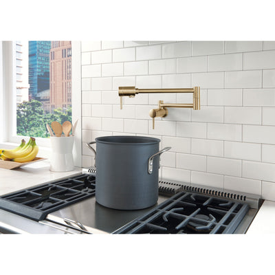 Delta Contemporary Champagne Bronze Finish Contemporary Wall Mount Pot Filler Faucet D1165LFCZ