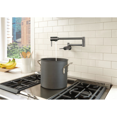 Delta Contemporary Black Stainless Steel Finish Contemporary Wall Mount Pot Filler Faucet D1165LFKS