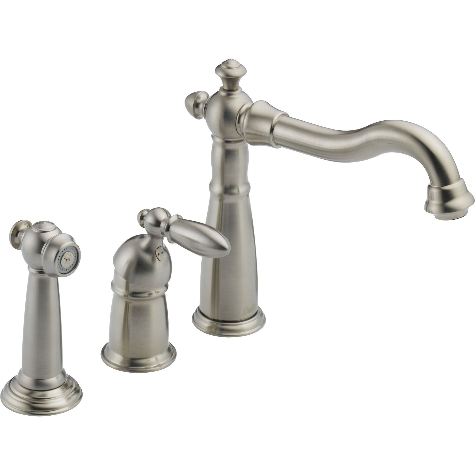 Delta Victorian Widespread Stainless Steel Kitchen Faucet w/ Side Spray 473179