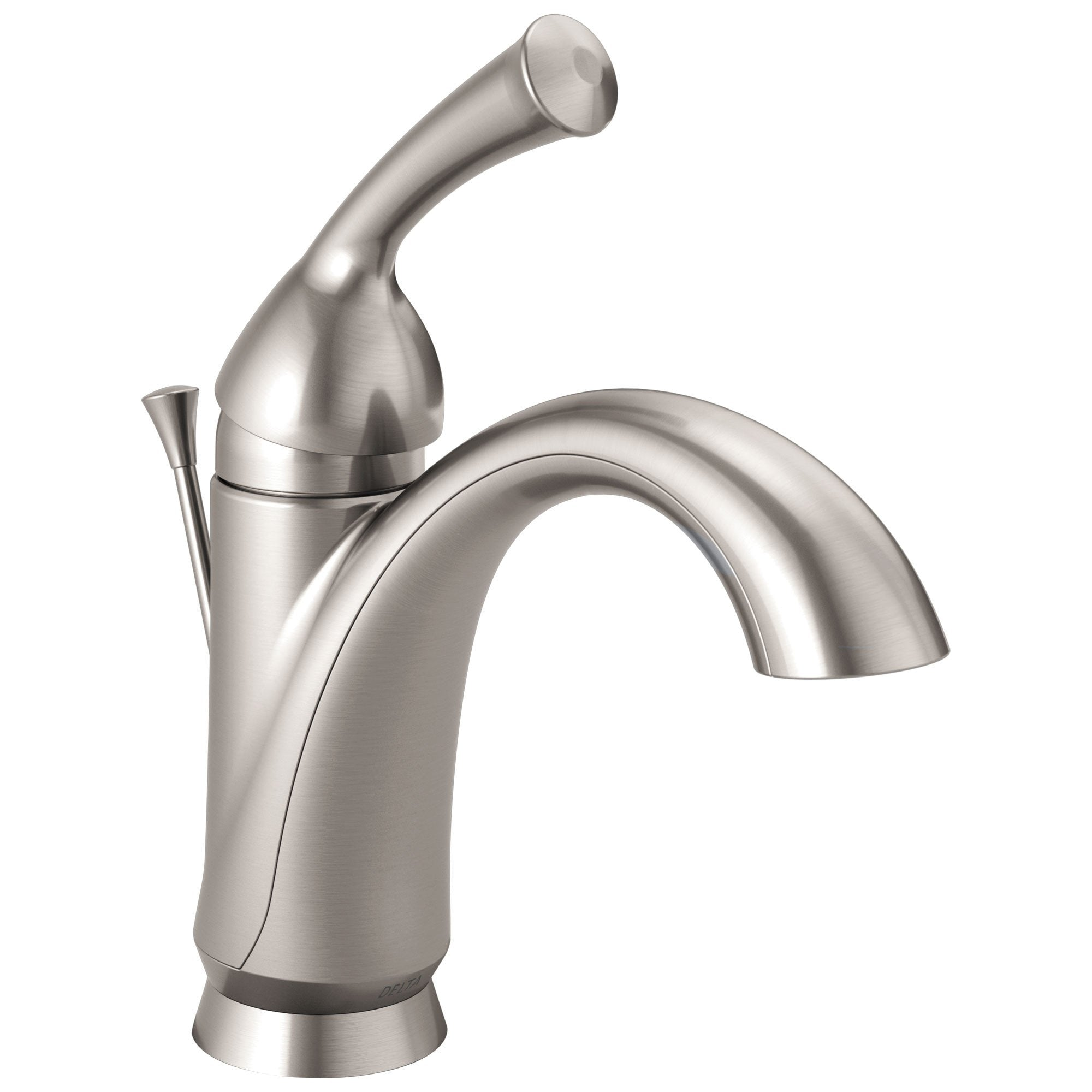 Delta Haywood Collection Stainless Steel Finish Single Handle One Hole Centerset Lavatory Faucet Includes Deck Plate for 3-Hole Installation 722474