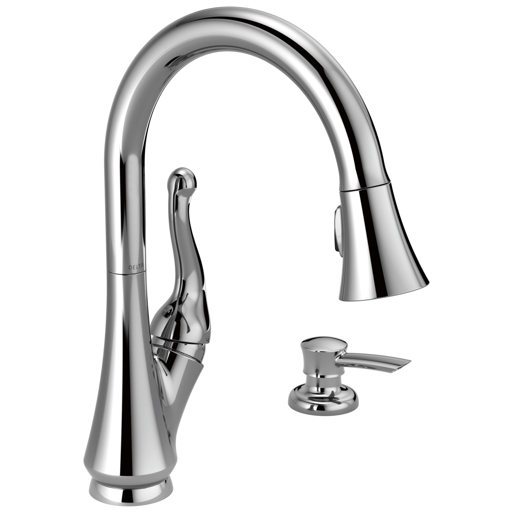 Delta Talbott Collection Chrome Finish Single Handle 2-Hole Pull-Down Spray  Kitchen Sink Faucet with Soap Dispenser D16968SDDST