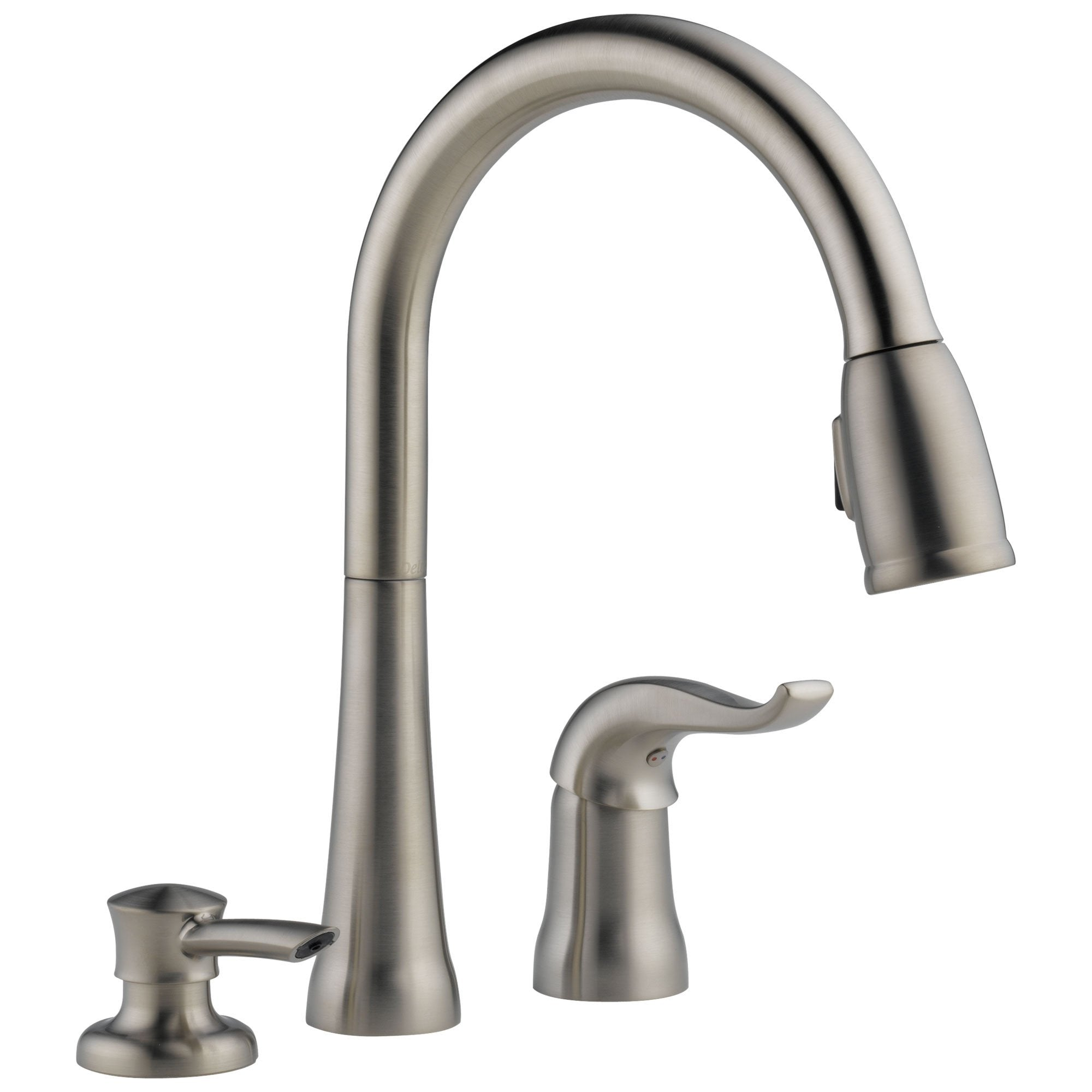 Delta Stainless Steel Finish Single Handle 3 Hole Pull-Down Sprayer Kitchen  Sink Faucet with Soap Dispenser D16970SSSDDST