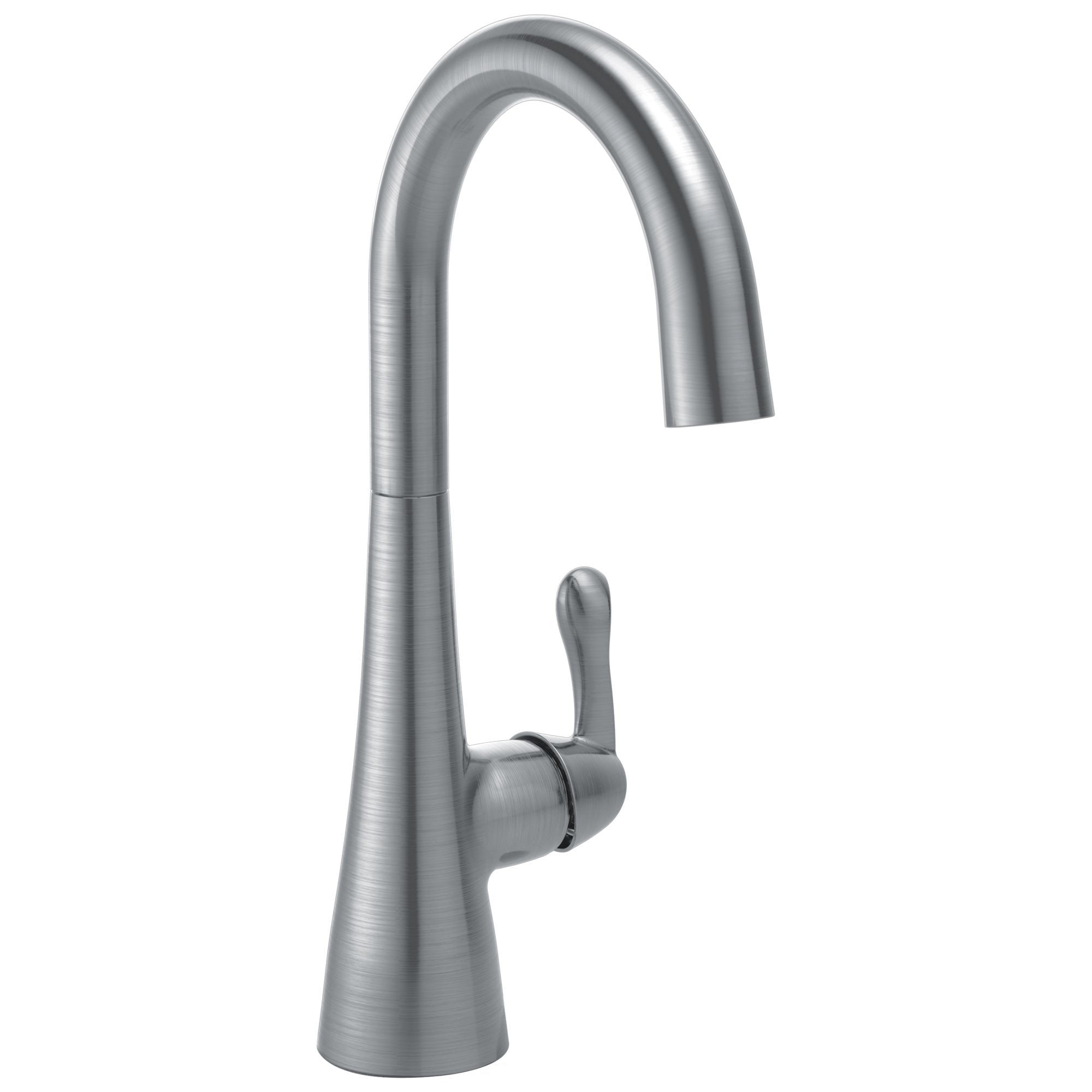 Delta Arctic Stainless Steel Finish Single Lever Handle 360-degree Swivel Spout Contemporary Water Efficient Bar Sink Faucet 729154