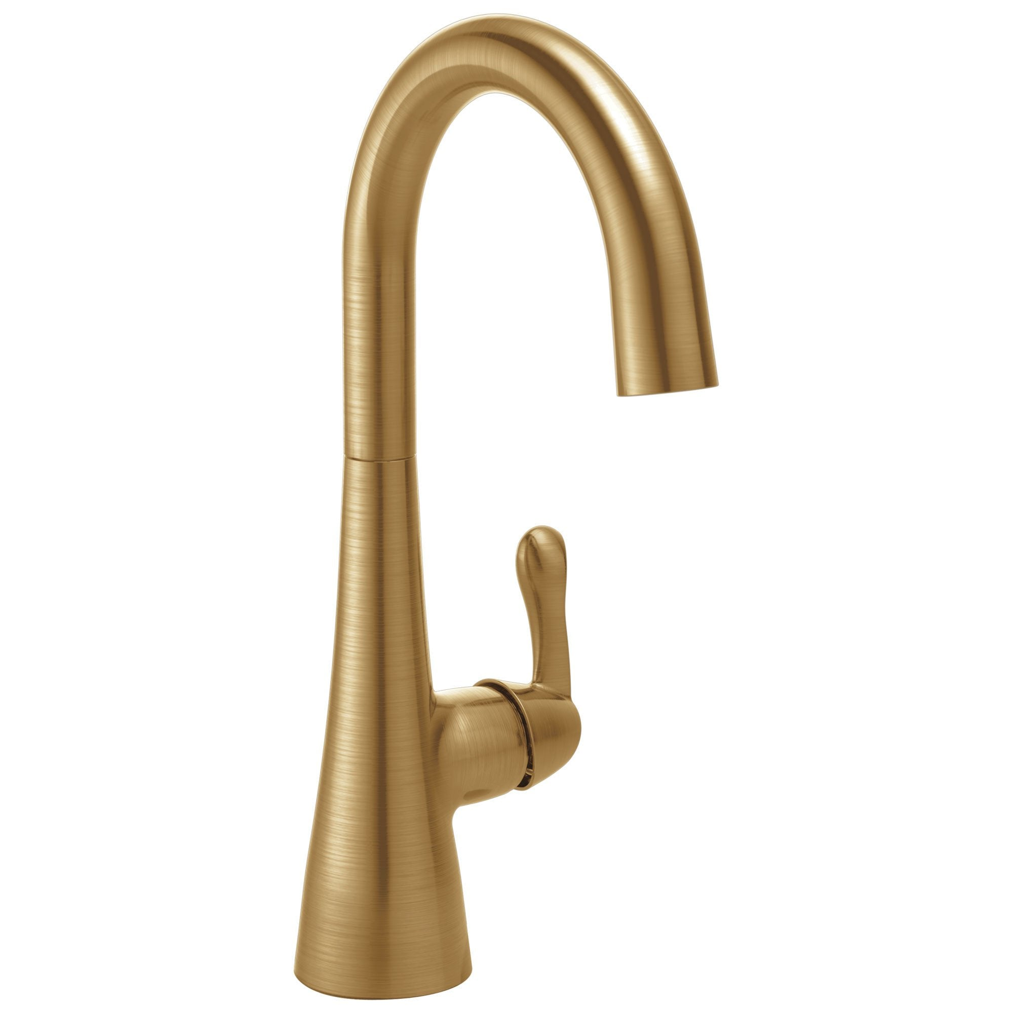 Delta Champagne Bronze Finish Single Lever Handle 360-degree Swivel Spout Contemporary Water Efficient Bar Sink Faucet 729152