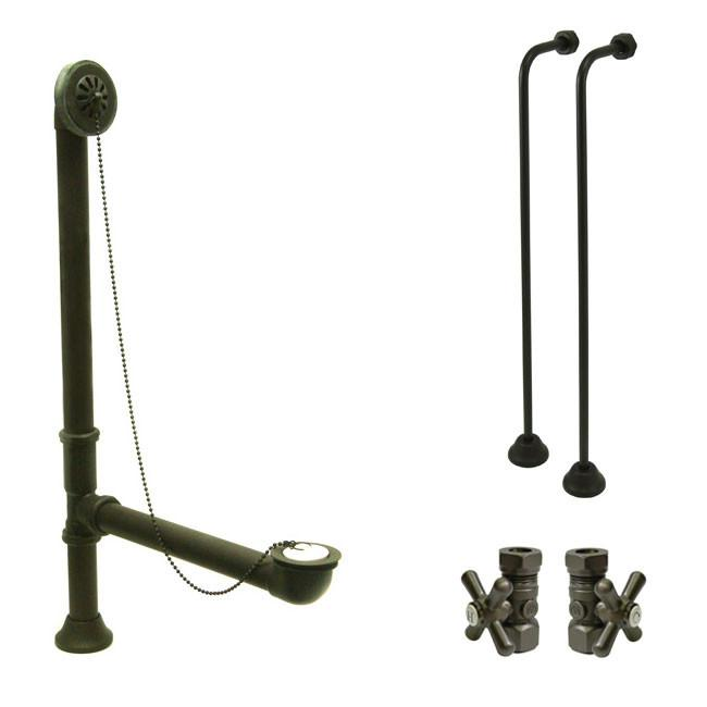 Bronze Clawfoot Tub Hardware Kit Drain, Single Offset Supply lines, Cross Stops