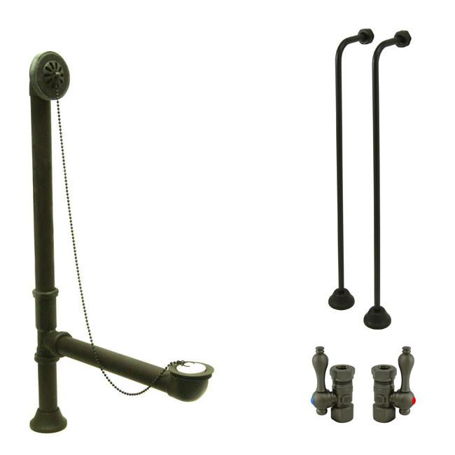 Bronze Clawfoot Tub Hardware Kit Drain, Single Offset Supply lines, Lever Stops