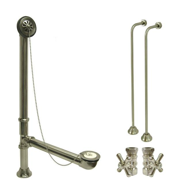 Nickel Clawfoot Tub Hardware Kit Drain, Single Offset Supply Lines, Cross  Stops