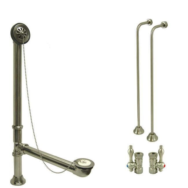 Nickel Clawfoot Tub Hardware Kit Drain, Single Offset Supply lines, Lever Stops