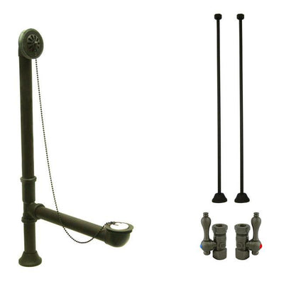 Bronze Clawfoot Tub Hardware Kit Drain, Straight Supply lines, Lever Stops